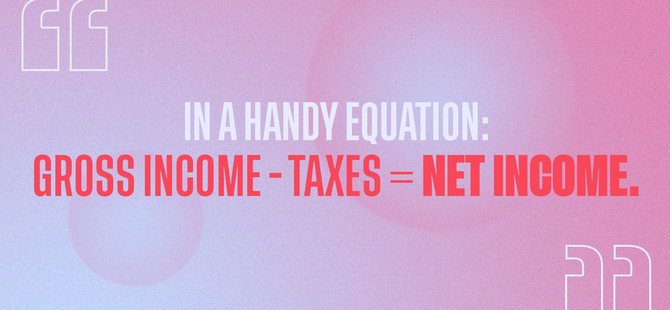 Gross income minus taxes equals net income