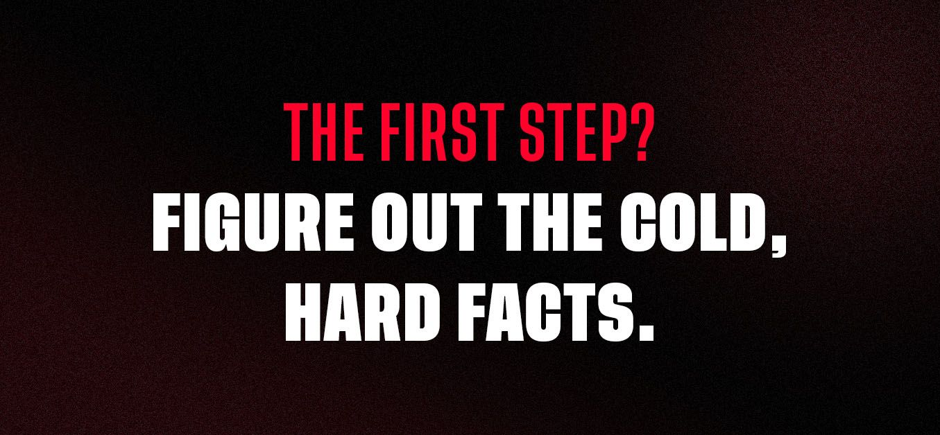 Graphic with the text: the first step? Figure out the cold, hard facts.