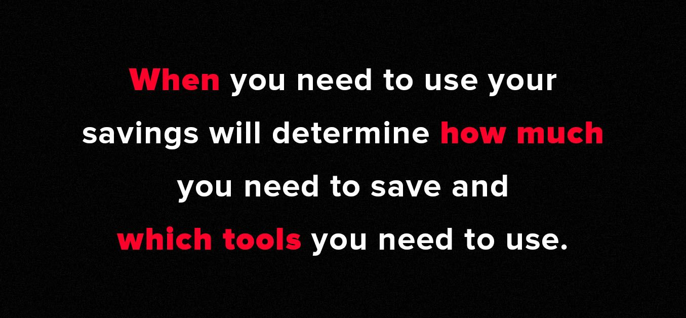 Graphic with the text: When you need to use your savings will determine how much you need to save and which tools you need to use.
