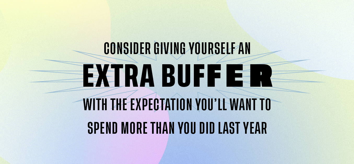 Consider Giving Yourself an extra buffer with the expectation you'll want to spend more than you did last year