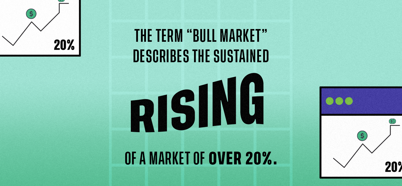 """The term """"Bull Market"""" describes the sustained rising of a market of over 20%."""