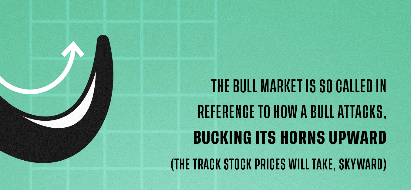 The bull market is so called in reference to how a bull attacks, bucking its horns upward (the track stock prices will take, skyward)