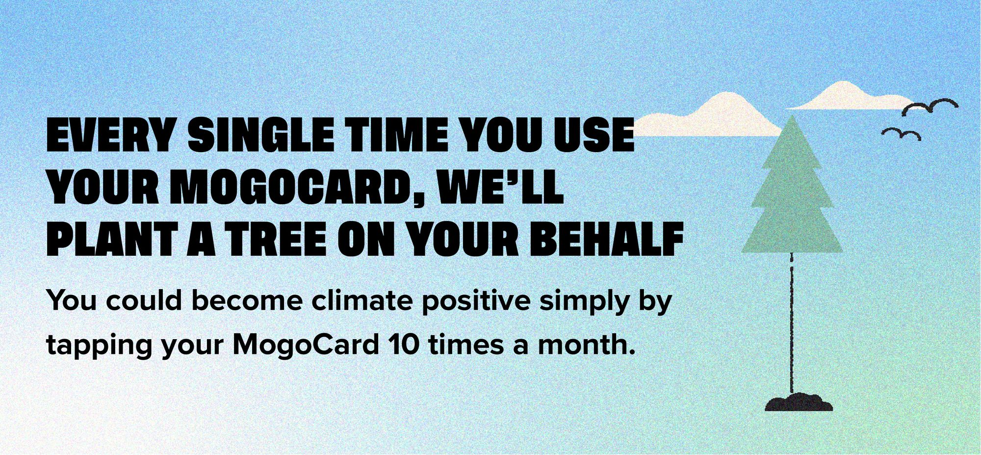Every single time you use your MogoCard, we'll plant a tree on your behalf. You could become climate positive simply by tapping your MogoCard 10 times a month.